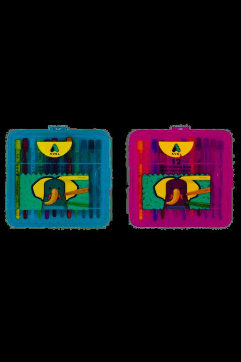 Adel Çevir-Aç Mum Boya 12 Renk