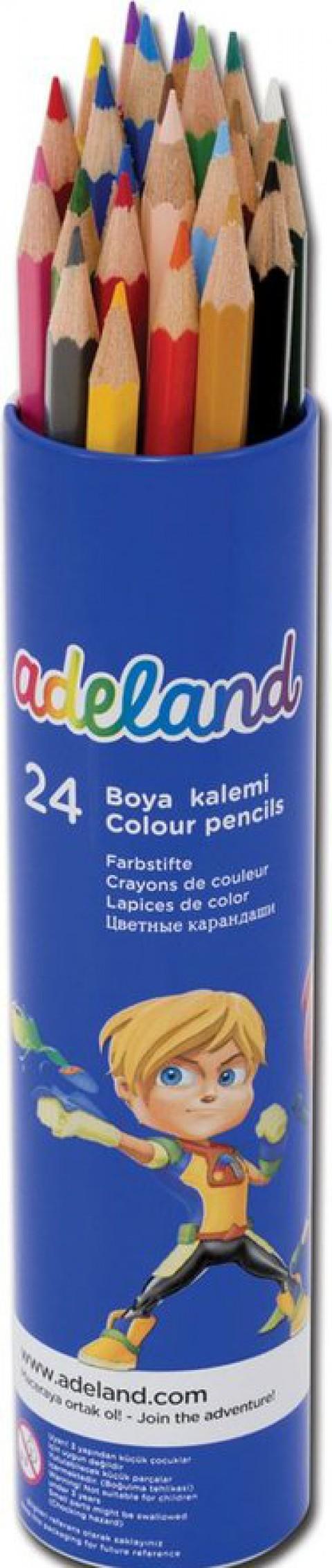 Adel Metal Tüp Kuru Boya Kalemi 24 Renk