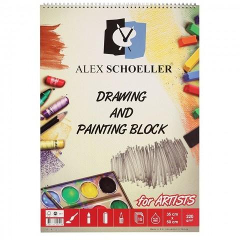 Alex Schoeller Çizim Ve Resim Bloğu Spiralli 35 X 50 220 Gr