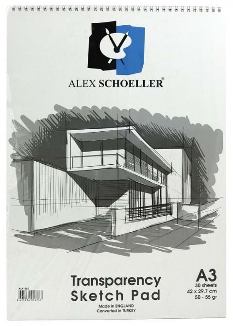 Alex Schoeller Schoeller Eskiz Blok Transparan Spiralli A3 50/55gr. 30 Yaprak