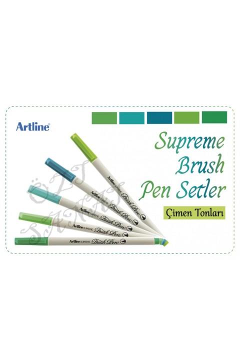 Artline Supreme Brush Pen Çimen Tonları 5 Renk Set