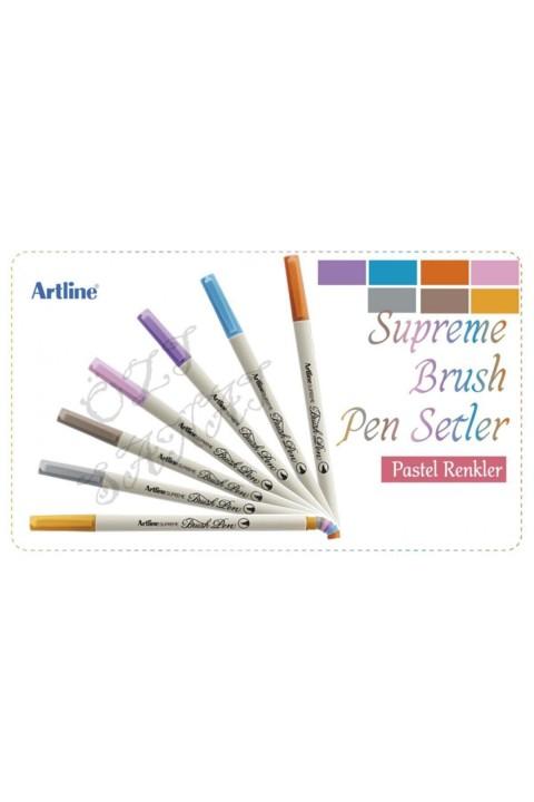 Artline Supreme Brush Pen Pastel Tonlar 7 Renk Set