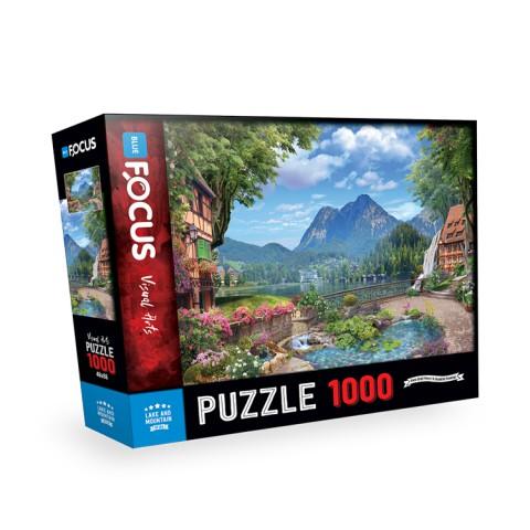 Blue Focus 1000 Parça Puzzle - Lake and Mountain