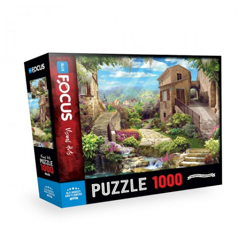 Blue Focus 1000 Parça Puzzle - Old Houses and Flowers