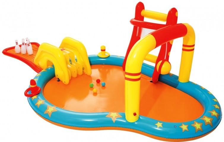 Bestway Aquapark Kaydıraklı Bowling Oyuncaklı Şişme Havuz + Mini El Pompası 30 Cm