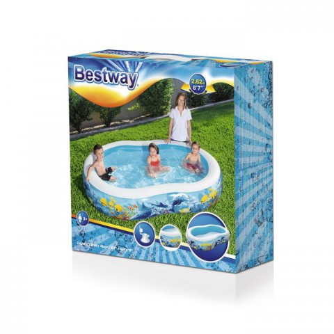 Bestway Havuz Oval Desenli Şişme Havuzu + Mini El Pompası 30 Cm Hediyeli