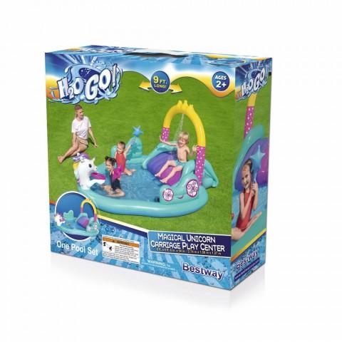 Bestway Unicorn Temalı Kaydıraklı, Potalı Fıskiyeli Havuz + Mini El Pompası 30 Cm Hediyeli
