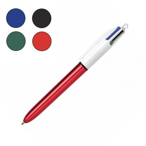 Bic 4 Colours Shine Kırmızı Gövde Tükenmez Kalem