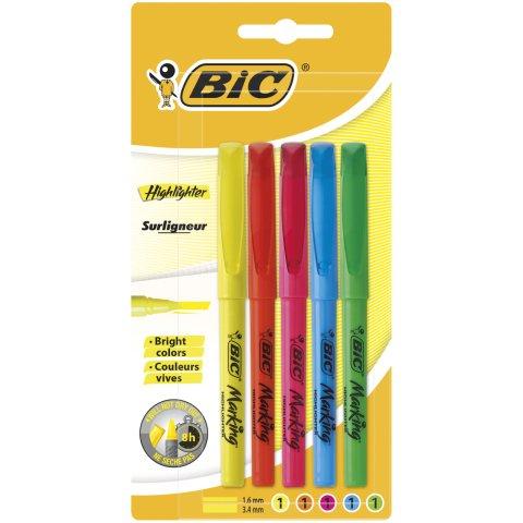 Bic Kalem Tipi 5'li Hıghlıghter - 2 Açılı Çizim Özelliği Fosforlu Kalem