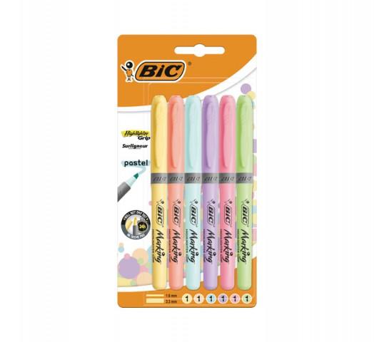 Bic Kalem Tipi Fosforlu Kalem Pastel Renk 6'lı