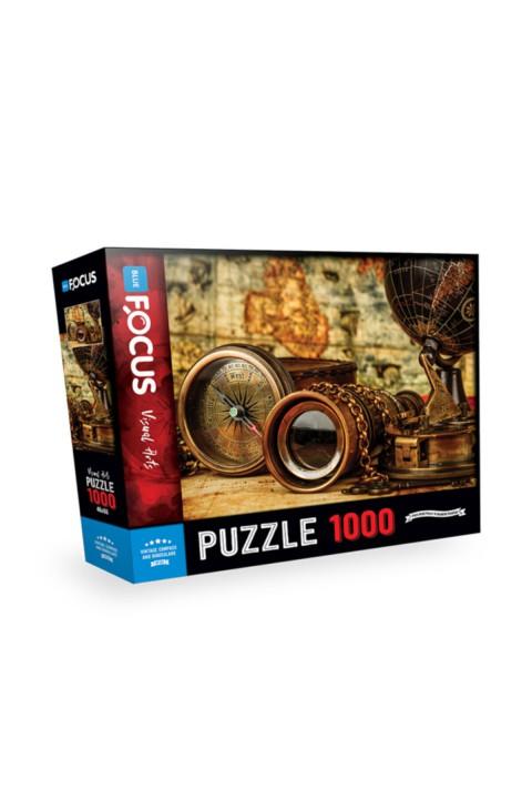 Blue Focus 1000 Parça Puzzle Vintage Compass Andbinoculars