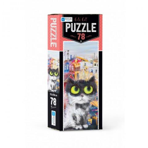 Blue Focus Puzzle Cute Cat 78 Parça