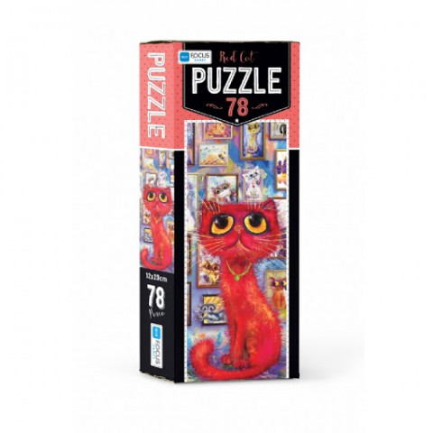 Blue Focus Red Cat – Puzzle 78 Parça
