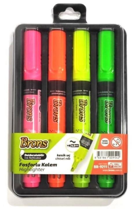 Brons Doldurulabilir Fosforlu Kalem 4 Renk Set