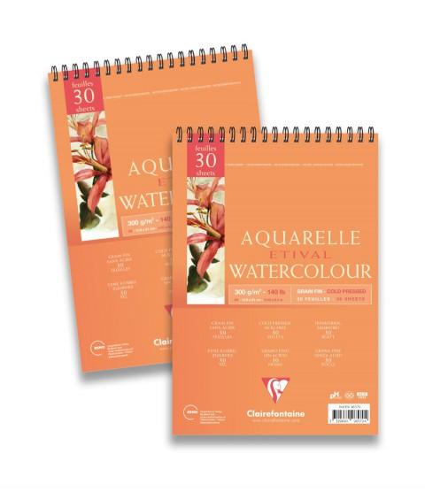 Clairefontaine Etival Cold Press Sulu Boya Bloğu A5 300 Gr 30 Yaprak Üstten Spiralli