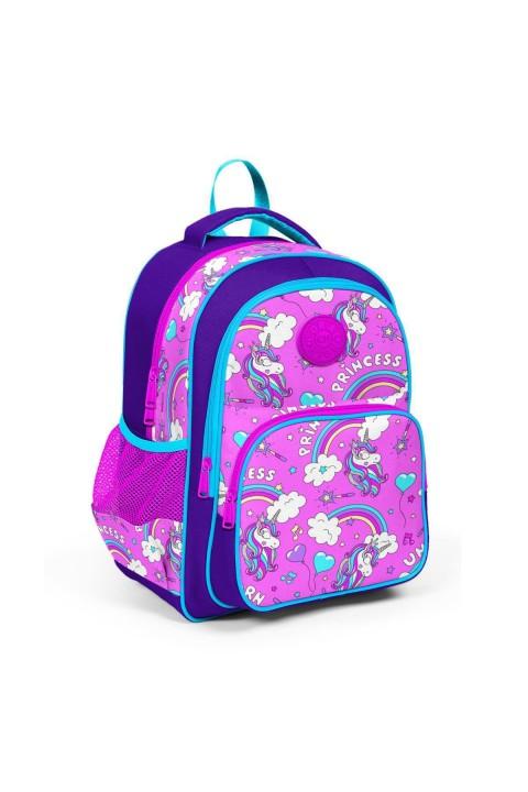 Coral High Kids Mor Açık Pembe Unicorn Desenli Üç Bölmeli Okul Sırt Çantası 23404