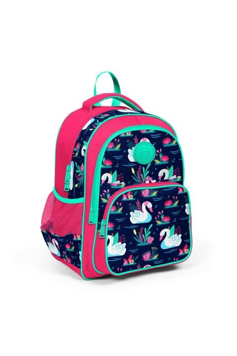 Coral High Kids Neon Mercan Lacivert Kuğu Desenli Üç Bölmeli Okul Sırt Çantası 23402