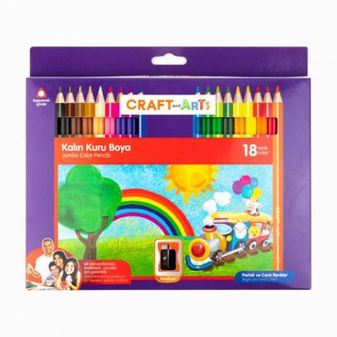 Craft and Arts 18 Renk Kalın Kuru Boya+ Hediye Kalemtraş