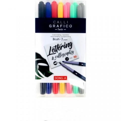 Dong-A Calli Grafico Kaligrafi Kalem Fırça Uç 8 Renk Set