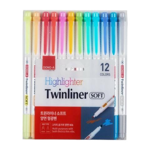 Dong-a Twinliner Soft Fosforlu Fırçalı 12 Adet Set