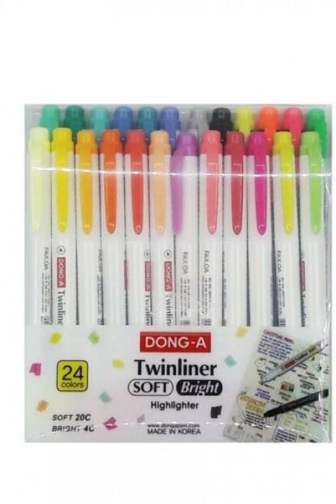 Donga Twınlıner Soft Bright 24 Renk Fosforlu Çift Taraflı
