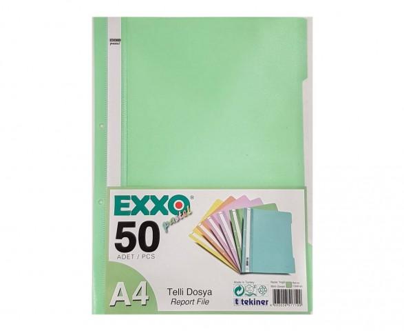 Exxo Pastel Telli Dosya 50'Li Paket Nane Yeşili