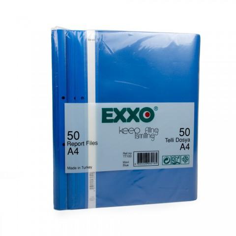 Exxo Telli Dosya Plastik A4 Mavi 50'li Paket 5 Adet (250 adet)