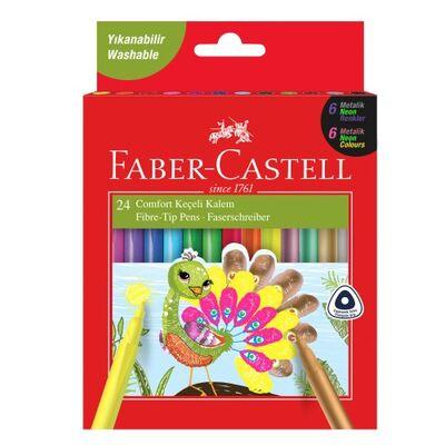Faber-Castell Comfort 6 Neon 6 Metalik 12 Klasik 24'lü Keçeli Kalem
