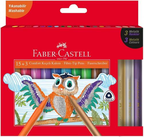 Faber-Castell Comfort Keçeli Kalem, 15 + 3