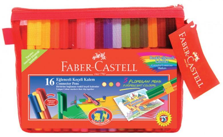 Faber Castell Eğlenceli Çantalı Keçeli Kalem Seti 16 Renk