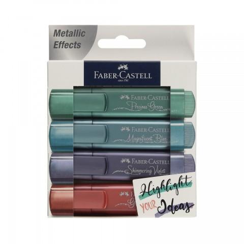 Faber Castell Fosforlu Kalem Metalik Renkler 4 Lü Set 2021 Yeni Renkler