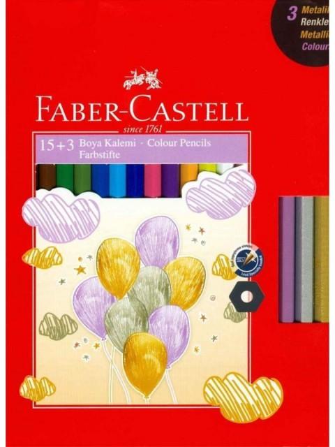 Faber Castell Kuru Boya Kalemi 15 Renk+3 Metalik Renk