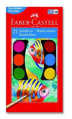 Faber-Castell Sulu boya, 21 Renk Büyük Boy + 2 Fırça