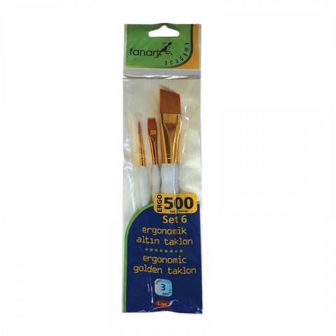 Fanart Academy 500 Seri 3'lü No:6 Fırça Seti