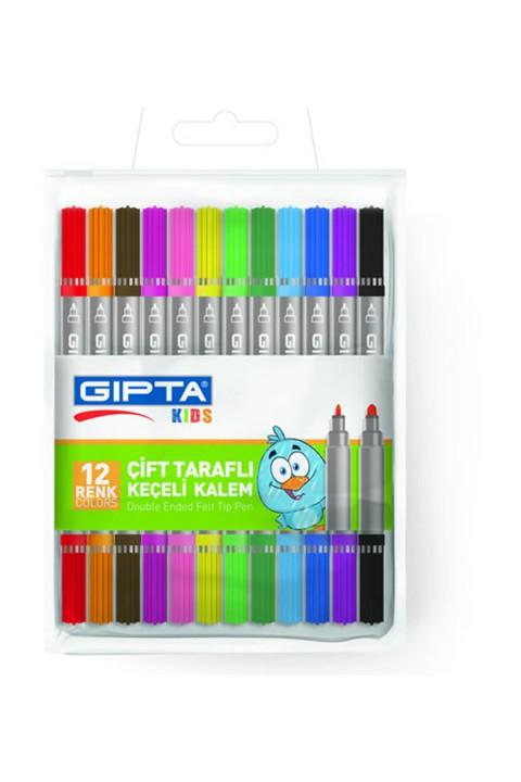 Gıpta 12 Renk Çift Taraflı Keçe Kalem PVC Çantalı K405