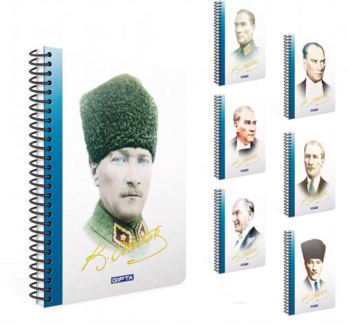 Gıpta 2651 Atatürk Spiralli Sert Kapak 17x24 100 YP Kareli Defter