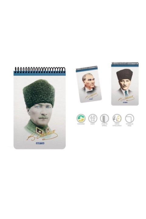 Gıpta A5 Bloknot Atatürk Spiralli Karton Kapak Kareli 100 Yp