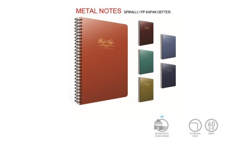 Gıpta Metal Notes 17x24 80 Yaprak Kareli Defter 4 Renk Set