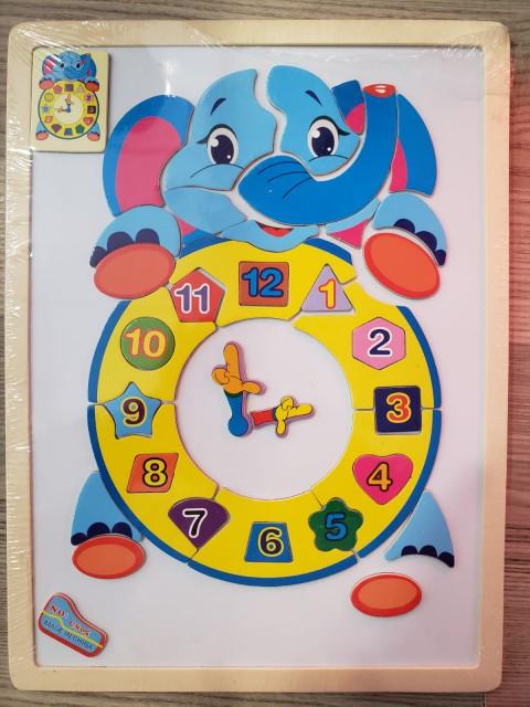 Mıknatıslı Ahşap Puzzle Saat - Fil ve Kedi Seçenekleri - 86807190