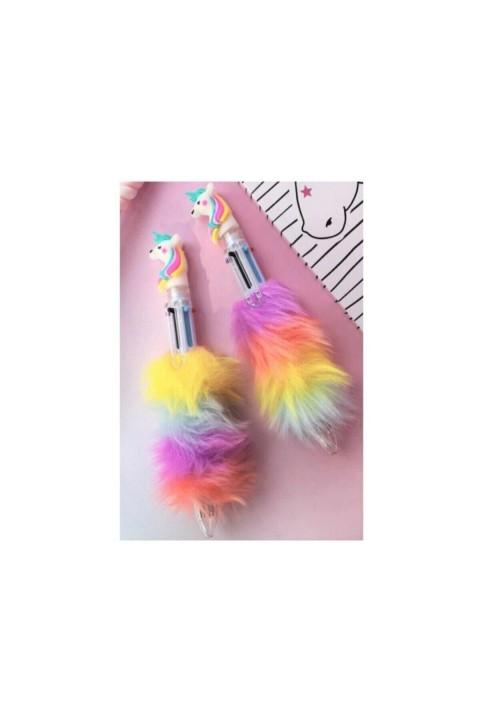 Mikro Unicorn Başlıklı Pelüş Tükenmez Kalem 6 Renk