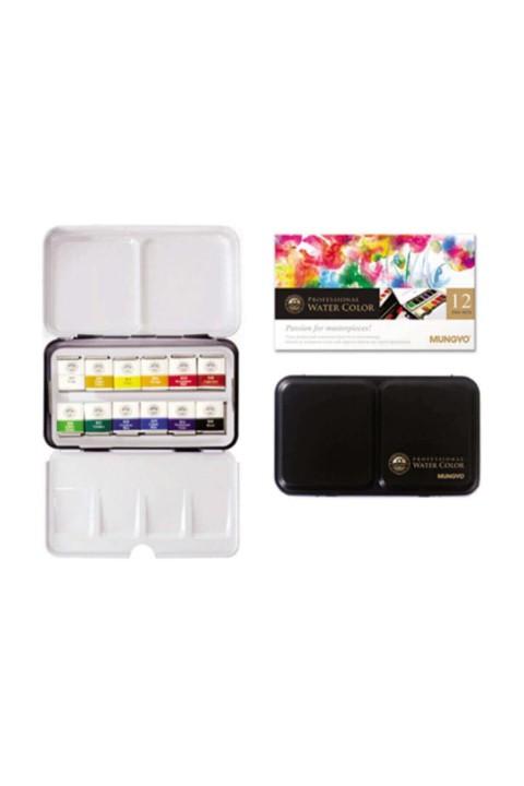 Mungyo Profesyonel Suluboya Seti 12 Renk (Yarım Tablet) + Defter