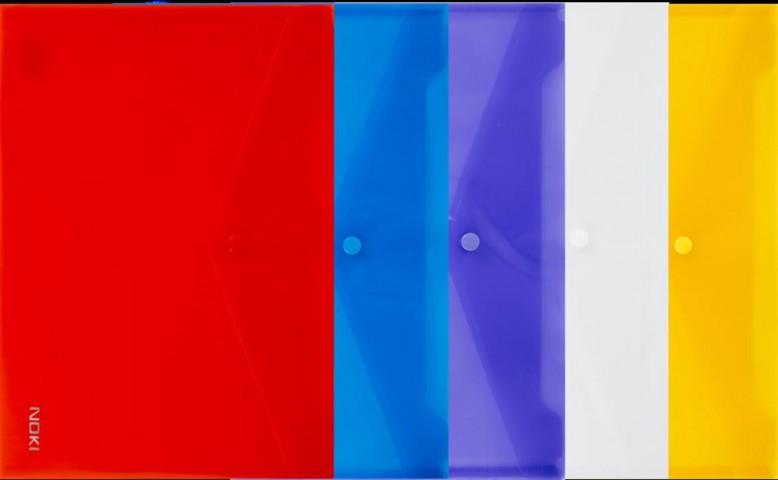 Noki Çıtçıtlı Şeffaf Zarf Dosya A4 12 Adet Renk Seçenekleri