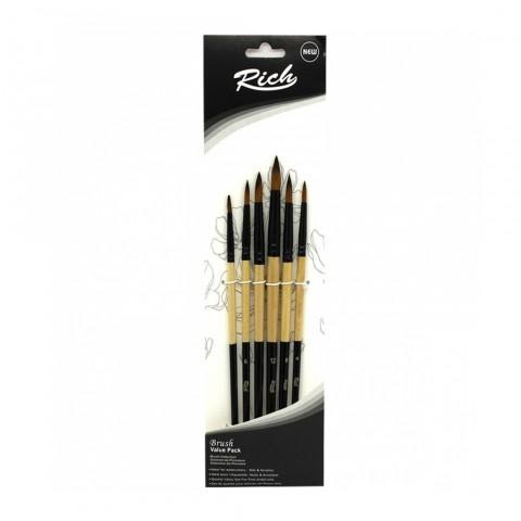 Rich 6'lı Yuvarlak Uç Fırça Seti 11218