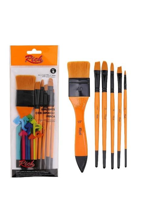 Rich 8000 Serisi 6'lı Karma Profesyonel Fırça Seti Set-8