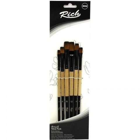 Rich Düz Kesik Fırça Seti 6'lı