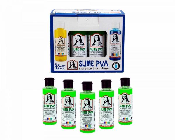 Sıvı Yapıştırıcı Slime Fosforlu Yeşil 12 Adet