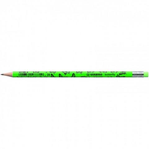 Stabilo Butterfly - Kurşun Kalem Neon Yeşil Silgili 12Li Kutu