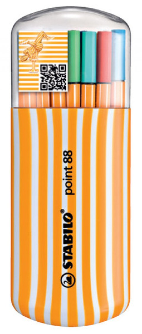 Stabilo Point 88 Zebrui Oval Kutu Keçeli Kalem 20 Renk