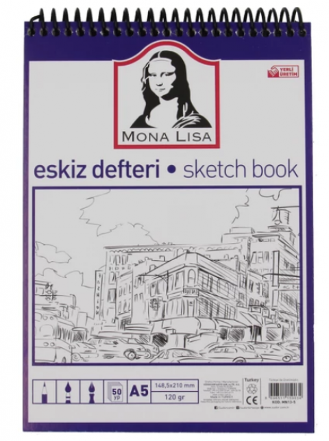 Südor Mona Lisa Eskiz Defteri 120 Gr A5 50 Yaprak Spiralli