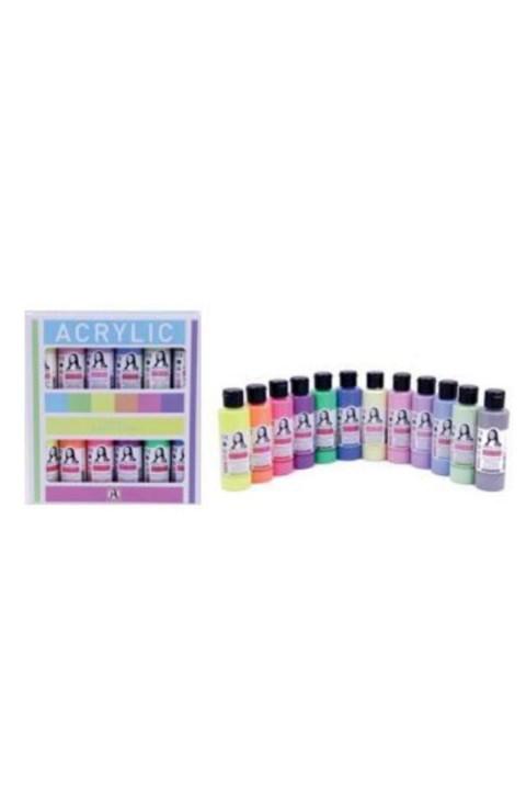 Südor Monalisa Chalky Pastel Ve Neon Renkler Akrilik Boya Seti 12x70 ml.